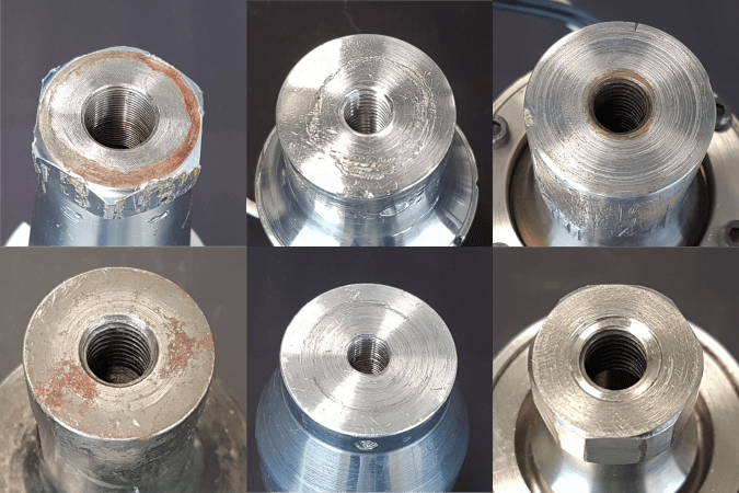 Ultrasonic stack damaged surfaces